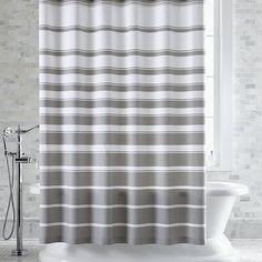 Hampton Stripe Grey Shower Curtain | Crate and Barrel