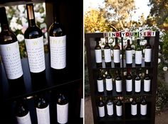 wine bottle wedding seating cards  This one is a really neat idea!!