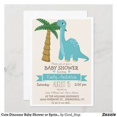 Cute Dinosaur Baby Shower or Sprinkle Invitation Dinosaur Birthday Invitations, Baby Shower Invitations For Boys, Baby Shower Themes, Baby Boy Shower, Sprinkle Invitations, Cute Dinosaur, Baby Boy Or Girl, Girl Birthday, Blue