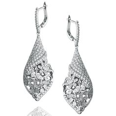 Suzy Levian Pave Cubic Zirconia Sterling Silver Pave Floral Drop... ($143) ❤ liked on Polyvore featuring jewelry, earrings, white, dangle earrings, cubic zirconia earrings, sterling silver dangle earrings, cubic zirconia drop earrings and sterling silver earrings