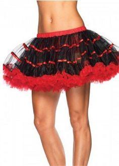 7cda39ad56 Leg Avenue Women's Layered Striped Petticoat Dress, Black/Red, One Size:  Layered satin striped tulle petticoat. Linda Wang · Corset Skirt