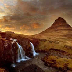 The Tourist Eye in Iceland via sunset and waterfall Oh The Places You'll Go, Places To Travel, Places To Visit, Beautiful World, Beautiful Places, Fantasy Places, Seen, Dream Vacations, Travel Pictures