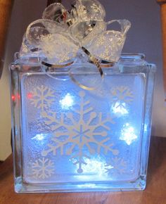 Snowflake Illuminated Glass Block Christmas Lighted by SGMCRAFTS