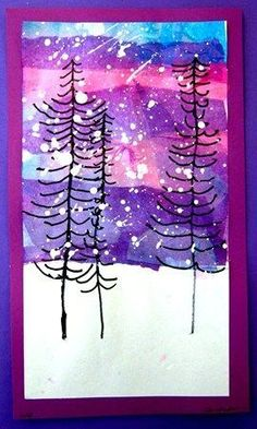 Kids Christmas Holiday Kid Art Gallery~ Check out this winter watercolor landscape done by grade students, as well as lots of other beautiful art ideas! Winter Art Projects, Winter Crafts For Kids, School Art Projects, Art For Kids, Kid Art, Winter Kids, Art 2nd Grade, Grade 3, Kids Art Galleries