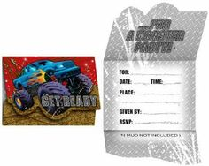 """Creative Converting Mudslinger Birthday Party Invitations, 8 Count by Creative Converting. $4.49. Mudslinger monster truck themed diecut party invitations. 8 count. See Creative Converting's coordinating line of party goods and dinnerware, paper plates, napkins, cupcake toppers, hanging decorations, banners, invitations, loot bags and more. Tri-fold style. Perfect supplies for a child's birthday party, a 4-wheelin' event or anyone who """"digs"""" big monster trucks. From ..."""