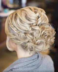 Messy braided updo. Spring or summer. Curly or curled hair pinned up with a small side braid. 23 Prom Hairstyles Ideas for Long Hair | PoPular Haircuts wedding formal dance date night