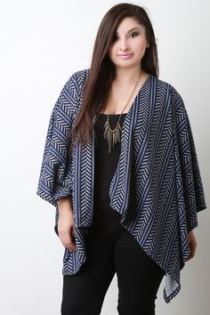 Tribal Open Front Poncho -Plus Size -Curvy