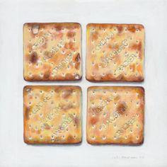 Joël Penkman is a talented New Zealand-born, UK-based artist who has been creating realistic food paintings that look good enough to be. Joel Penkman, Juan Sanchez Cotan, Food Illustrations, Illustration Art, Cream Crackers, Jam Tarts, Food Painting, Food Drawing, Still Life Art