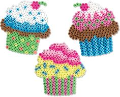 Create these fun cupcake designs with Perler beads and have a pretend tea party! The striped beads look just like sprinkles!
