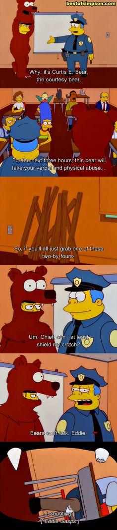 It's Curtis E. Bear, the courtesy bear.
