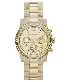 Michael Kors Watch, Women's Chronograph Horn Acetate and Gold Tone Stainless Steel Bracelet 40mm MK5582 - All Watches - Jewelry & Watches - Macy's