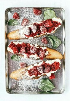 Rustic foccacia french toast with raspberries and ricotta cheese