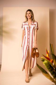 Vestido chemise listrado Mocassim OWME marrom look verao look casual com mocassi. Kurta Designs, Blouse Designs, Casual Dresses, Fashion Dresses, Summer Dresses, Maxi Robes, Look Casual, Indian Dresses, Chic Outfits
