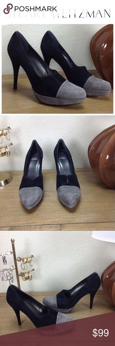 Stuart Weitzman Black & Gray Suede Platforms Stunning 100% authentic Stuart Weitzman black and gray cap toe suede platform heels with v opening. In excellent condition with no visible spots or stains. Shoes run about a 1/2 size small. Thanks for your interest!  Please checkout the rest of my closet. Stuart Weitzman Shoes Platforms