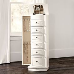 Storage Jewelry Chelsea Jewelry Armoire - The ultimate in jewelry storage, this elegant piece is packed with drawers, compartments and cabinets. The perfect place for all your treasures, it's lined with natural linen and features a lift-up, mirrored top. Clean Gold Jewelry, Modern Jewelry, Black Jewelry, Gold Jewellery, Body Jewelry, Storage Mirror, Locker Storage, Paper Storage, Computer Armoire