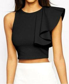 Sexy Women One Shoulder Ruffle Crop Top Round Neck Sleeveless Fitness Tank Top T-Shirt Croped Feminino Blusas Black/Yellow Cropped Tops, Black Crop Tops, Black Tank, Böhmisches Outfit, Mode Top, Tank Top Outfits, Crop Blouse, Black Blouse, Long Blouse