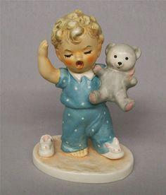 Goebel Charlot ByJ SLEEPYHEAD Boy With Teddy Bear Bee in V Mark W Germany 1957