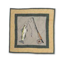 Lodge Fever Fishing Cotton Throw Pillow