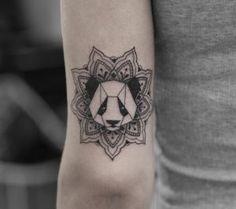 Geometric panda tattoo by Georgia Grey