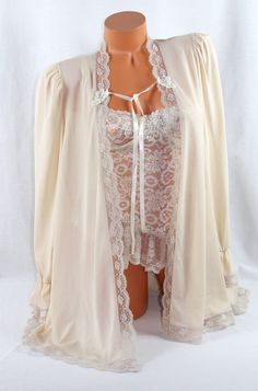 Sexy Petra Fashions Beige Lacey Stretch Corset w/Sheer Nylon Cover-Up Size Med #PetraFashions #HookEye