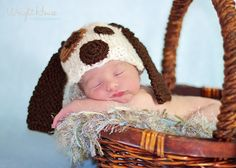 Puppy Dog Knitted Hat PHOTO PROP by mandag433 on Etsy, $22.00