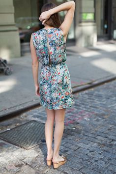 Open Back Dress - Abstract Botanical | Emerson Fry