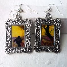 """Vincent Van Gogh """"Sower at sunset"""" Earrings Frame Tibetan Silver Plated"""