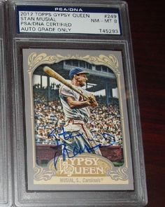 2012 TOPPS GYPSY QUEEN STAN MUSIAL SIGNED ON-CARD AUTO PSA 8 DECEASED CARDINAL