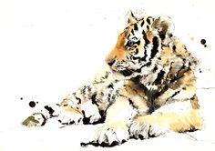 "Saatchi Online Artist Lucy Newton; Mixed Media, ""Tiger Cub"" #art"
