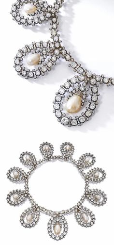 The necklace form of an antique royal tiara by Musy! Old cut diamonds and natural pearls. Via Sotheby's. Indian Jewellery Design, Indian Jewelry, Jewelry Design Earrings, Jewelry Box, Diamond Flower, Diamond Cuts, Pearl And Diamond Necklace, Royal Tiaras, Try On