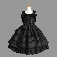 Black Square Collar Sleeveless Bowtie Layered Lace Lolita Sundress