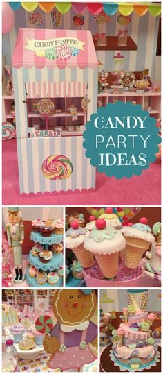 A pastel candy themed sweet shoppe girl birthday party with a fun cake and party decorations! See more party planning ideas at CatchMyParty.com!