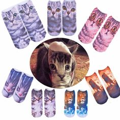 [US$3.28] Women Ladies 3D Printed Animal Pattern Socks Cute Cat Low Cut Ankle Hosiery #women #ladies #printed #animal #pattern #socks #cute #ankle #hosiery