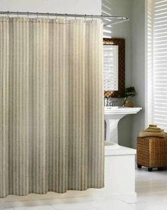 Linen Chevron Shower Curtain by Kassatex