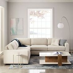 Urban Set Left Arm 2 Seater Sofa + Corner + Right Arm 2 Seater Sofa, Twill, Stone At West Elm - Sectional Sofas - Couches - Living Room Furniture Sectional, Sofa Furniture, Family Room, West Elm Sectional, Furniture, Small Sectional, Sectional Sofa, Living Room Furniture, West Elm