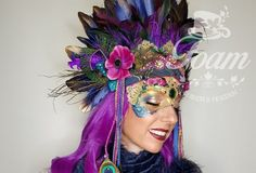 Pretty headpiece with feathers in navy, purple and peacock feathers. Mardi Gras Outfits, Feather Headpiece, Carnival Costumes, Peacock Feathers, Masquerade Ball, Festival Party, Headpieces, Purple, Etsy
