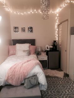 pink and white college girl dorm room decor with lights, cute inspiration