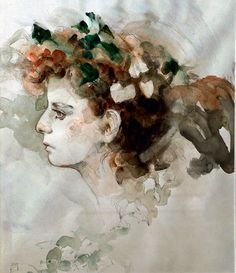 "Original watercolor of Teresa Lenar,  painted in 1986 by the legendary illustrator Jeffrey Jones.  The artist is the recipient of the 1986 World Fantasy Award for Best Artist.  The painting is included in ""Age of Innocence: The Romantic Art of Jeffrey Jones,"" published by Underwood Books,1994, softcover edition, (ISBN 0-88733-185-8).    Jeffrey Jones is featured in ""Success Stories: Selling Romantic Paintings,"" published in the January 1991 issue of American Artist, while the promotional…"