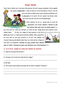 Projet d'école. Compréhension écrite French Language Lessons, French Language Learning, French Teaching Resources, Teaching French, French Teacher, French Class, French Lessons For Beginners, French Sentences, French Practice