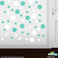 Set of 30 - White / Mint Green Circles Polka Dots Vinyl Wall Graphic Decals Stickers Decal Venue