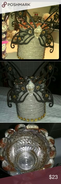Hand Designed Butterfly Canister This beauty I designed is perfect for placing your makeup brushes and it's also a beautiful setting on a vanity or dresser Makeup Brushes & Tools