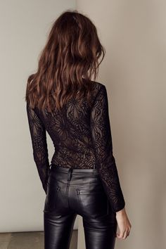 date night outfit; black leather pants; intricate bodysuit