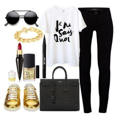"""""""Untitled#1286"""" by mihai-theodora ❤ liked on Polyvore featuring Yves Saint Laurent, J Brand, Stila, NARS Cosmetics, Christian Louboutin and Adele Marie"""