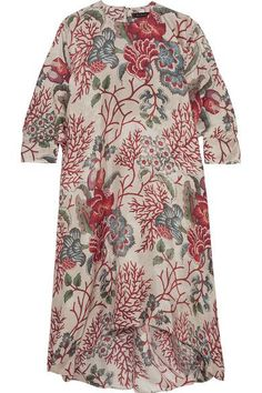 Biyan - Aleincoral Printed Silk Crepe De Chine Dress - Red - x small
