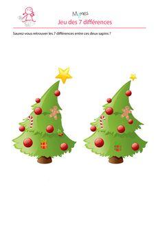 Sapin de noel : jeu des 7 erreurs Theme Noel, Alice, Christmas Ornaments, Halloween, Holiday Decor, Second Language, Montessori, Comme, School