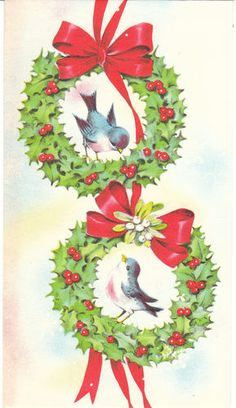 Christmas Card Birds in Wreath Robin Red Breast