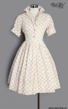 1960's Colorful Ribbon Shirt Dress � M