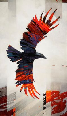 Craig Kosak, painted hawk or bird of prey, gorgeous reds