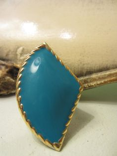 Vintage Art Deco Turquoise and Gold Adjustable Ring by Rusticware, $14.00