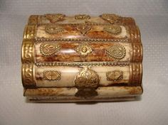 Bone Ring Casket Ornately Adorned : Antique Boxes, Casket, Antique Jewelry, Bones, Jewelry Box, Dresser, Decorative Boxes, Auction, Antiques